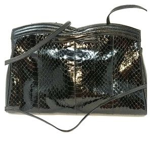 Saks Fifth Avenue Venetto Black Snakeskin Clutch